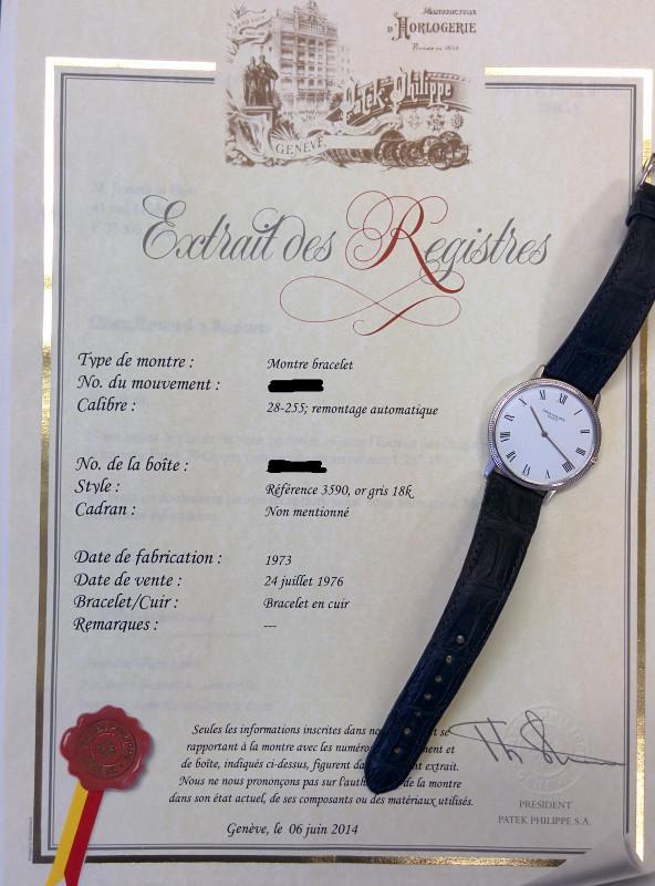 Photo d'un certificat